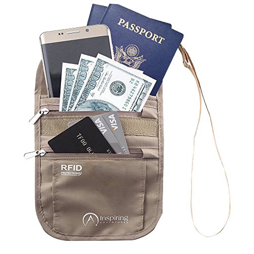Neck Wallet Passport Holder for Travel RFID Safe & Water Resistant