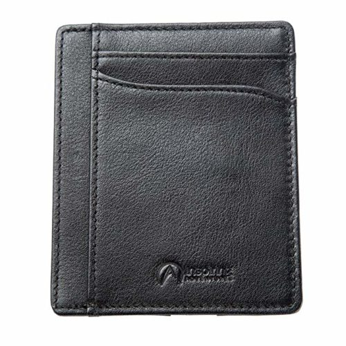 Premium Leather Front Pocket Credit Card Wallet w/RFID Blocking & Gift Box - Black