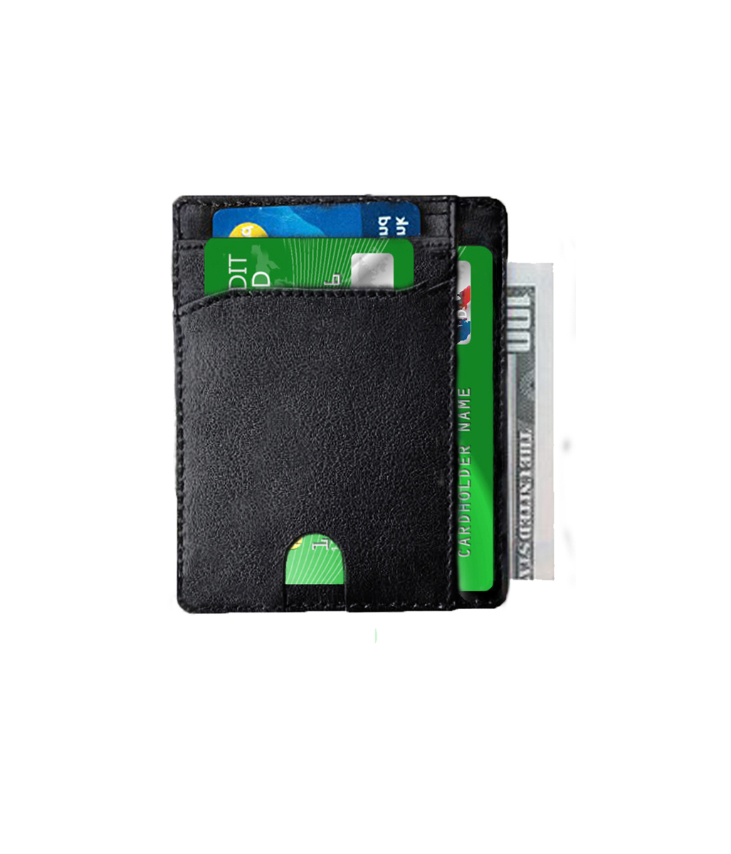 4d280be854f2 Premium Leather Front Pocket Credit Card Wallet, Thumb Sliding Slim ...