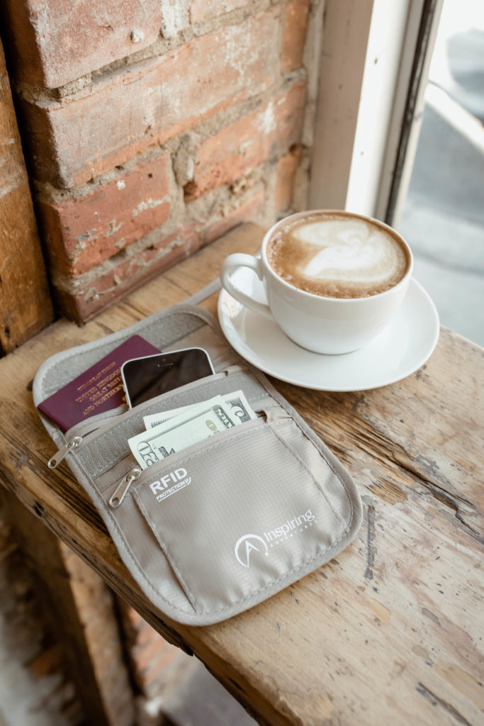 Beige Neck Wallet with Coffee
