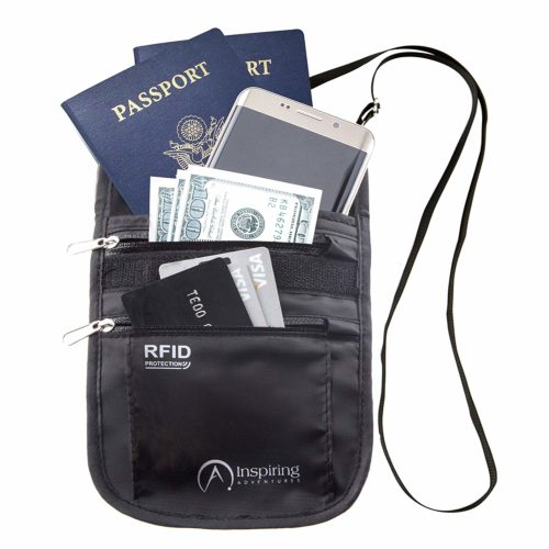 Neck Wallet Passport Holder for Travel RFID Safe & Water Resistant Black