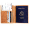 Passport Holder & Wallet, Genuine Leather, RFID Safe, with Gift Box - Vintage Brown Discreet-img03