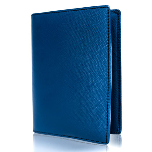 Passport Holder & Wallet, Genuine Leather, RFID Safe, with Gift Box - Navy Blue