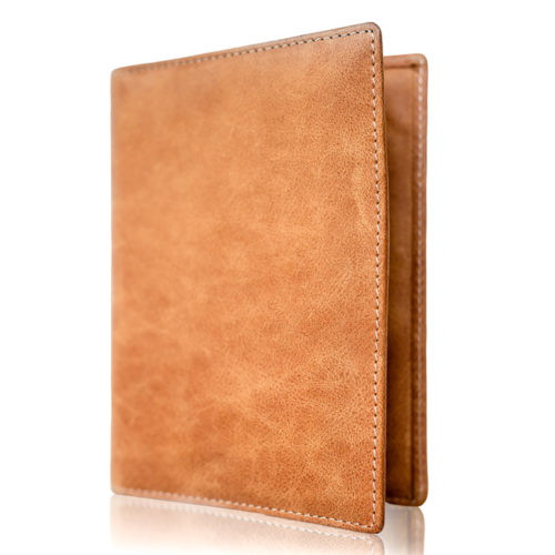 Passport Holder & Wallet, Genuine Leather, RFID Safe, with Gift Box - Vintage Brown Discreet